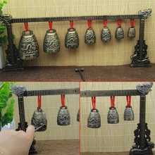 Китайские Glockenspiel колокольчики, Латунные Колокольчики, бронзовая посуда, древние китайские мини-музыкальные инструменты, 7 круглых медных колокольчиков и Crandall
