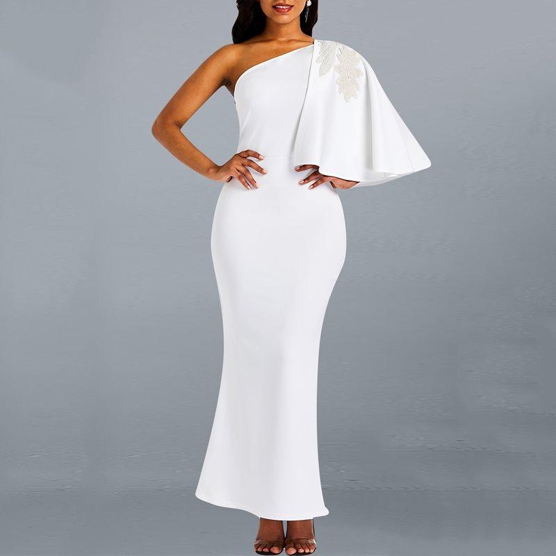 White Women Dinner Party Dress One Shoulder 2019 Elegant Female Trumpet Long Maxi Dress Robe Bodycon Dinner African Dresses