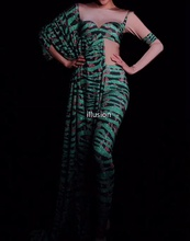 Green Leopard Printed Women Jumpsuit Sexy Big Sleeve Stage Wear Rompers Women Jumpsuits Prom Birthday Party Outfits Vestidos (Copy)