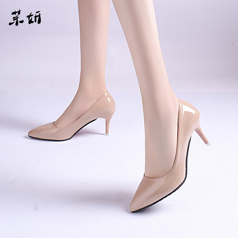 2019 Spring Fashion Woman Shoes Pointed Fine With Heels Shallow Mouth High Heels Patent Leather Summer Pumps Shoes Mujer 7cm