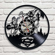 97ad0a7a63c8 Superman Vs Batman dibujos animados 3d Led Reloj de pared de estilo antiguo  disco de vinilo. 2 colores disponibles