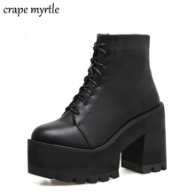 все цены на lace up Boots 2018 Fashion Thick Heel Ankle Boots Women High Heels Autumn Winter Woman Shoes black boots platform shoes YMA62 онлайн