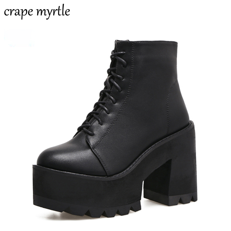 lace up Boots 2020 Fashion Thick Heel Ankle Boots Women High Heels Autumn Winter Woman Shoes black boots platform shoes YMA62