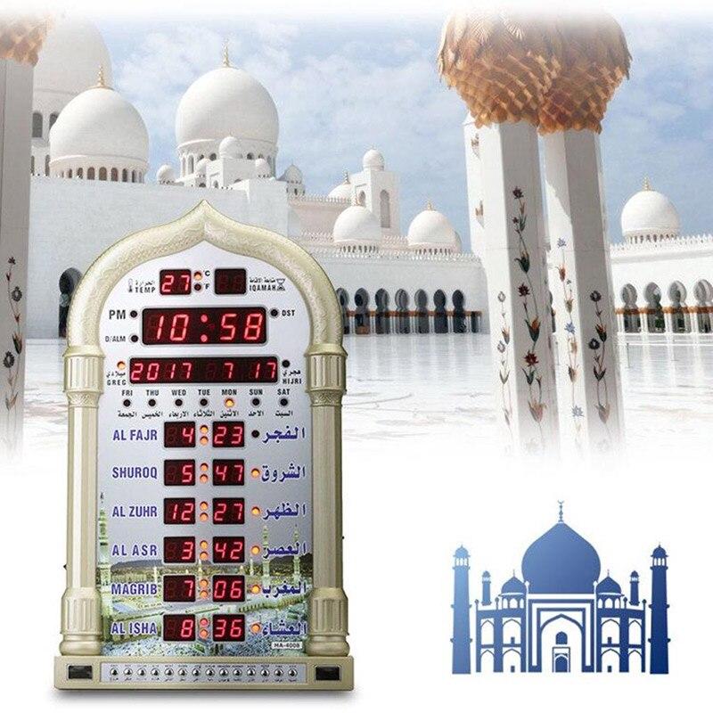 Automatische Muslim Islamischen Beten Uhr AZAN Moschee Gebet Alarm Batterie Ausgeschlossen Hause Dekoration EU Stecker-in Wanduhren aus Heim und Garten bei  Gruppe 2