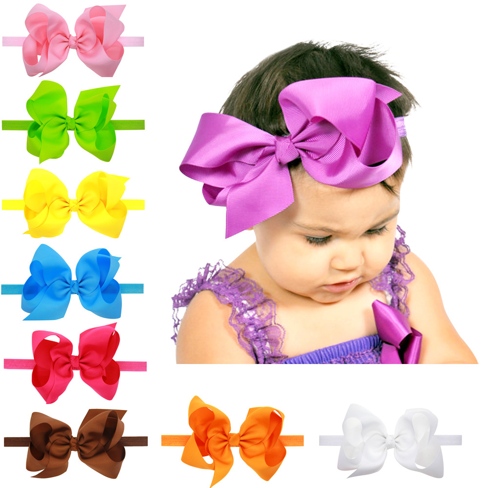 BABY TODDLER GIRL HAIR HEAD BAND SHIMMERY ELASTIC RIBBON BOW FLOWER