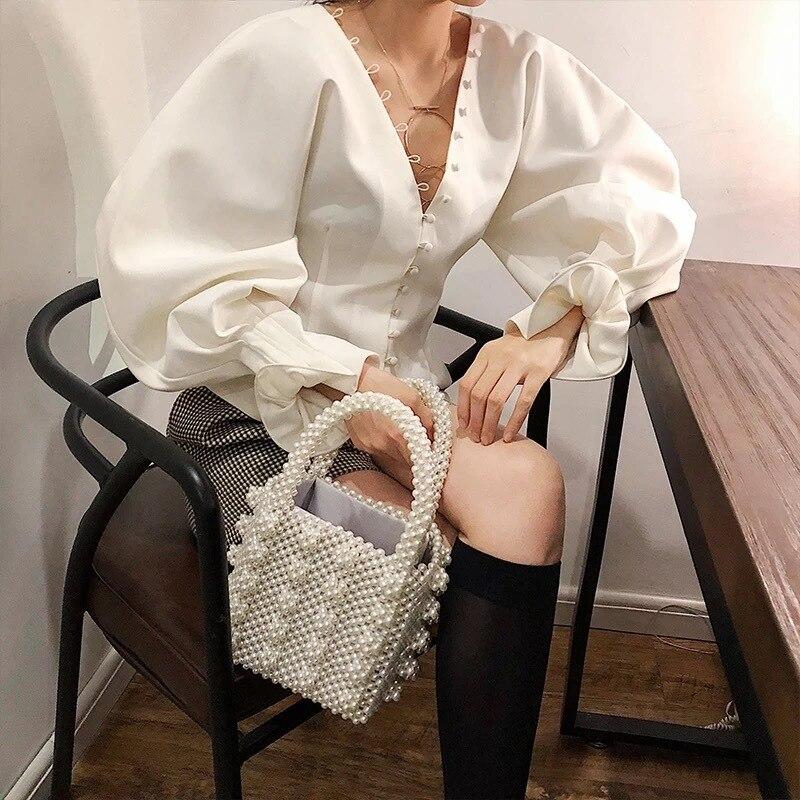 2018 nouveau printemps mode imprimé Blouse col en v lanterne manches haute rue chemise blanc Blouse femmes Blouses femmes hauts et chemisiers