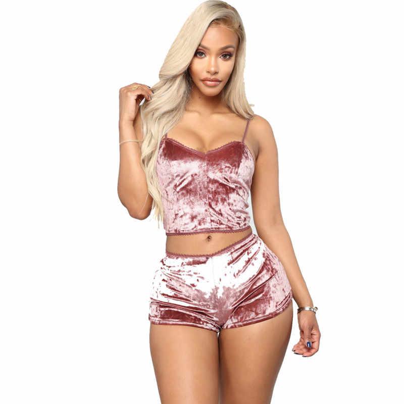 375351c31979 Women pajamas set Sleeveless Crop Top shorts set pyjama femme Underwear  Sexy Lingerie Velvet Bralette Panty