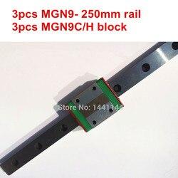 MGN9 miniaturowa szyna liniowa: 3 szt. Szyna MGN9 250mm + 3 szt. Wózek MGN9C/MGN9H do części drukarki X Y Z axies 3d w Prowadnice liniowe od Majsterkowanie na