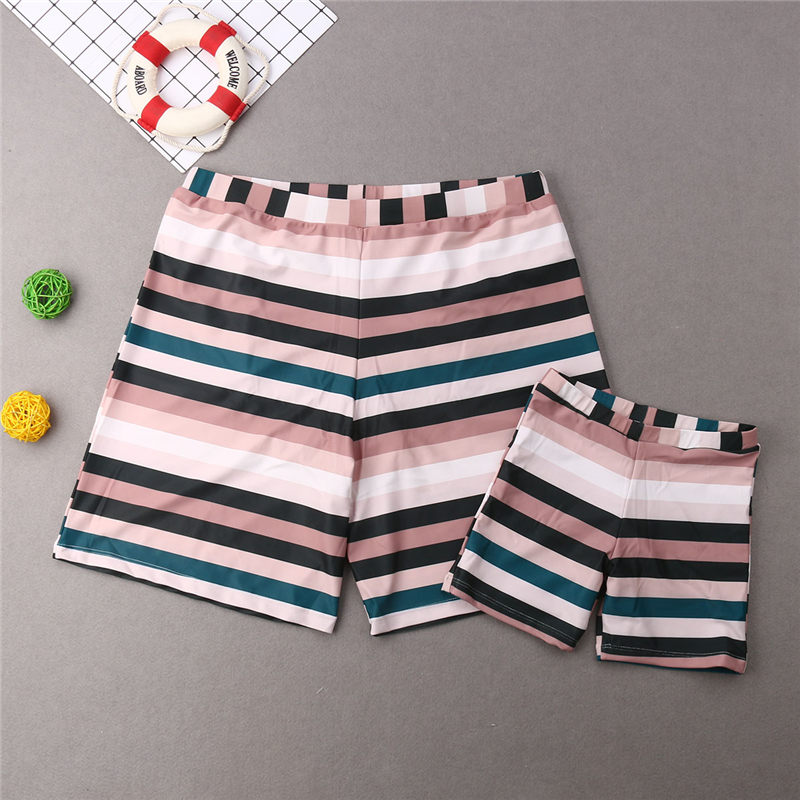 Swimwear Shorts Bathing-Suit Boy Trunks Women Kid Girl Bikini Ruffle Striped Family