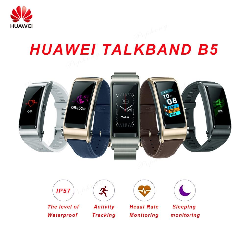 Huawei TalkBand B5 Talk Band Smart Bracelet Wearable Sports Bluetooth Wristbands Touch AMOLED Screen Call Earphone
