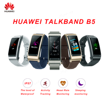 Huawei TalkBand B5 לדבר להקת חכם צמיד לביש ספורט Bluetooth Wristbands מגע AMOLED מסך שיחת אוזניות להקה