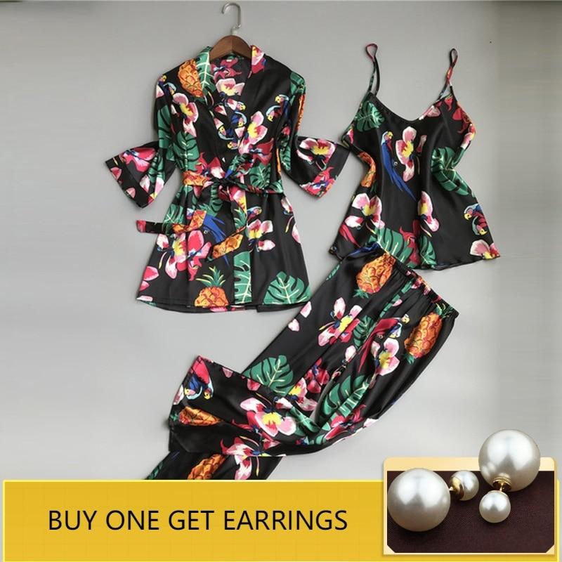 Sleep Lounge Satin Sleepwear Flower Slik Women Pajamas Set Elegant Pyjamas Women Autumn Nightwear 3 Pieces Ladies Home Suit