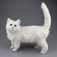 Lovely Adorable Stuffed Cat Model Black White Kitten Plush Soft Pet Toy for Children Gift Home Decorative Ornament For Kids