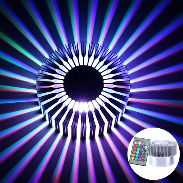 Led Wall Lamp Ac85 -265v 3w Aluminum Wall Lamp High-power Led Chip Rgb Colorful  Sun Flower Wall Lamp