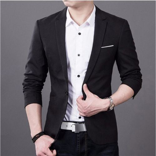 Fashion New Men Casual Slim Fit Formal One Button Suit Blazer Warm Autumn Winter Black Blue Gray Burgundy Blazer