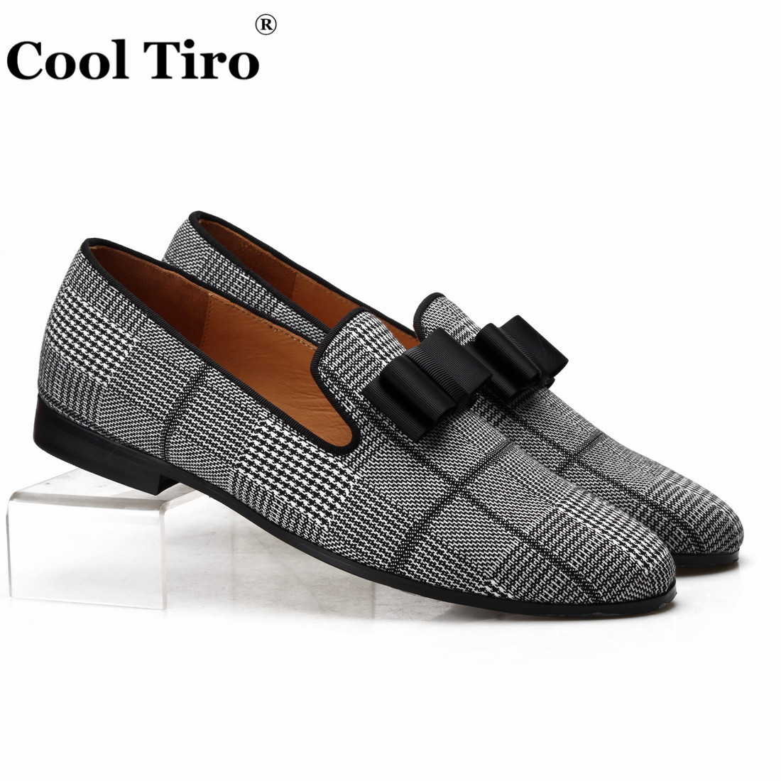 Cool Tiro Gingham Canvas Loafers Men s Moccasins Smoking Slippers Wedding party Dress Shoes Genuine Leather