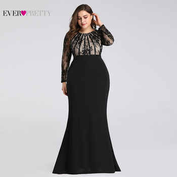 Evening Dresses Long 2019 Ever Pretty EZ07771 Elegant Mermaid Lace Full Sleeve O-neck Plus Size Mother of the Bride Dresses