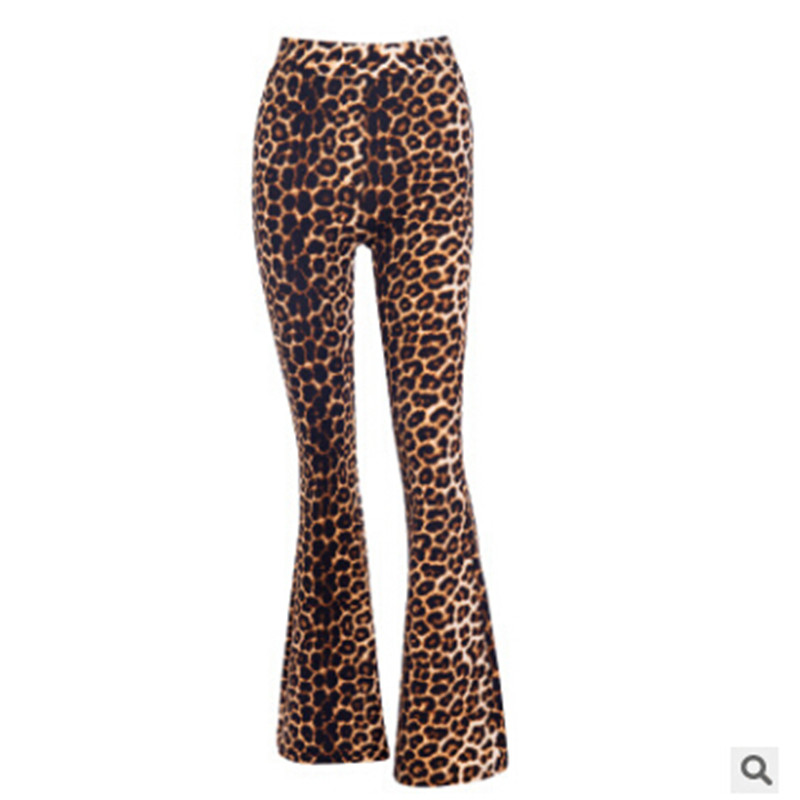 Popular Fashion Causal Sexy Ladies Fall Women High Waist Leopard Print Pants Casual Wide Leg Flare Trouse Long Pants Capris
