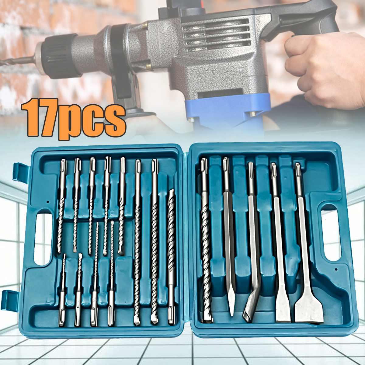 17 pièces/ensemble forets burin SDS Plus ensemble de marteaux rotatifs pour outils d'installation hydroélectrique B osch HILTI avec boîte de rangement