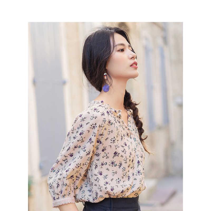 INMAN 2019 Лето Новое поступление v-образным вырезом ретро цветочные все совпадающие праздничные стиль свободные тонкие женские рубашки с коротким рукавом