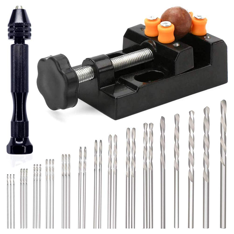 32Pcs Pin Drill Set, Universal Multiple Size Pin Vice With A Mini Carving Clamp For Craft Carving,Diy,Woodworking,Jewelry Or M