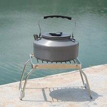 Suporte de fogão dobrável em aço inoxidável, suporte de rack para fogão, ferramenta de acampamento, suporte de pote, equipamento de cozinha esportivo ao ar livre