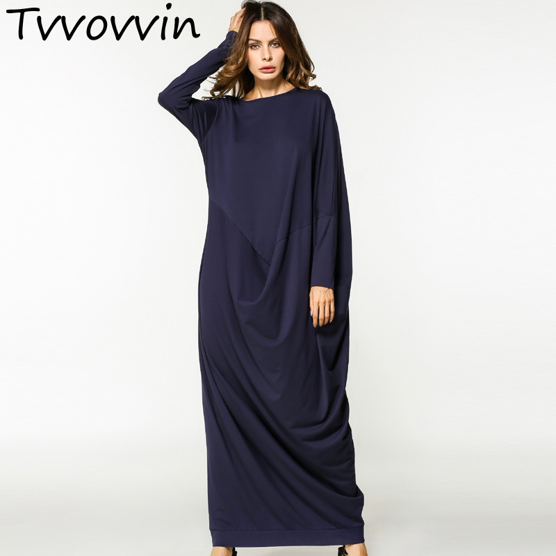 TVVOVVIN 2019 new loose large size o neck irregular fold dress female's long sleeve X long clothing autumn Vestido L098