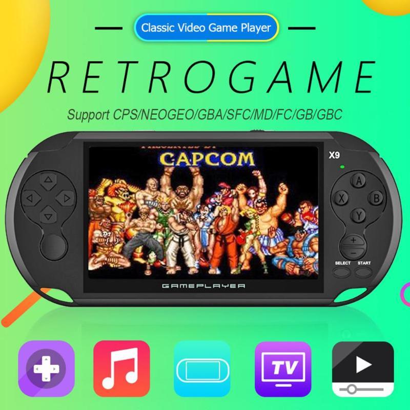 LIGA DE X9 Retro Video Game console 5 POLEGADA lcd A Cores máquina De Jogo Handheld Jogador Do jogo 8GB MP5 embutido 3000 jogos clássicos