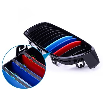 3pcs/set Airspeed Car Front Grille Trim Bumper Stripes Sticker for BMW 3 Series E46 F30 E90 11 Grilles Motorsport Decal image