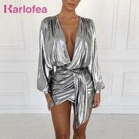 Karlofea New Metal Color Party Dress Winter Long Sleeve Sexy Deep V Neck Wrap Mini Dress Chic Plus Size XXL Pleated Club Dress
