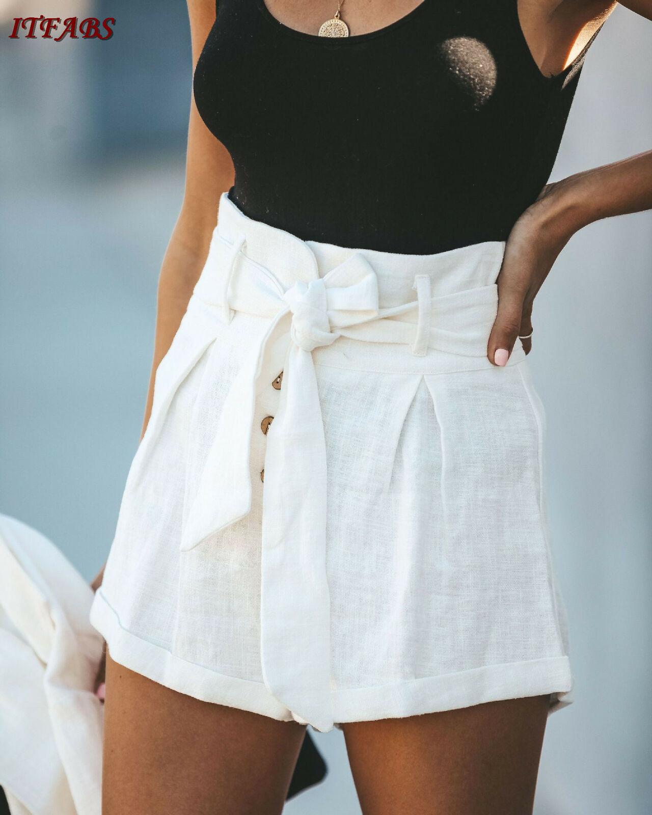 2019 New Womens Ladies High Waist Summer Casual Floral Beach Sport Hot Pants   Shorts   Solid   short   pants