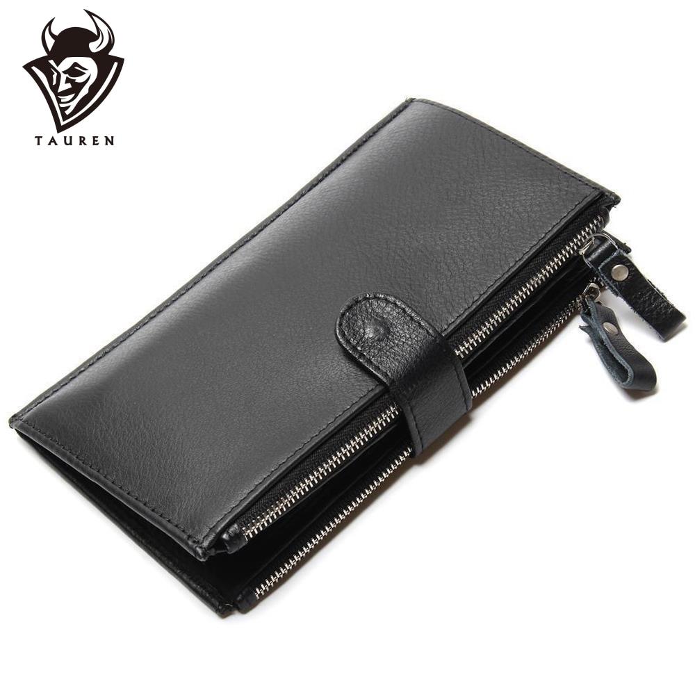 Man Wallet 100% Genuine Leather Black Color Large Capacity Men's Vintage Retro Wallets