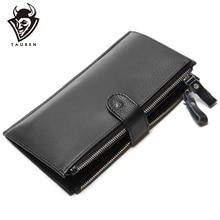 цена на Man Wallet 100% Genuine Leather Black Color Large Capacity Men's Vintage Wallets