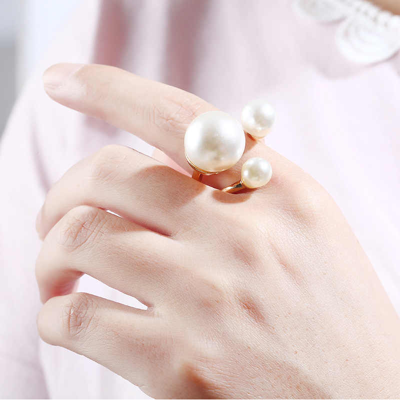 White Pearl Opening Rings For Women Jewelry Big Finger Ring Gold Pearl Engagement Ring Wedding Promise Rings For Female Gifts