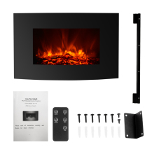 XL Large 35″*22″ Electric Wall Mount Fireplace 3D Flame Heater with Remote Control Adjustable Heat Setting 1800W