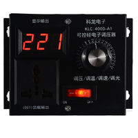 Black Variable Voltage Controller 220V 4000W For Fan Speed Motor Control Dimmer Speed Temperature Voltage Adjustment