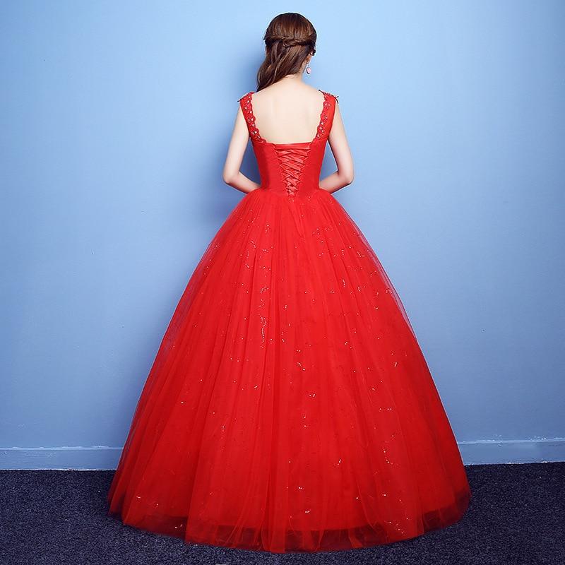 Robe De Noiva 2019 v-cou rouge perles dos nu Quinceanera robes Tulle cristal robe De bal élégantes robes De Quinceanera - 4