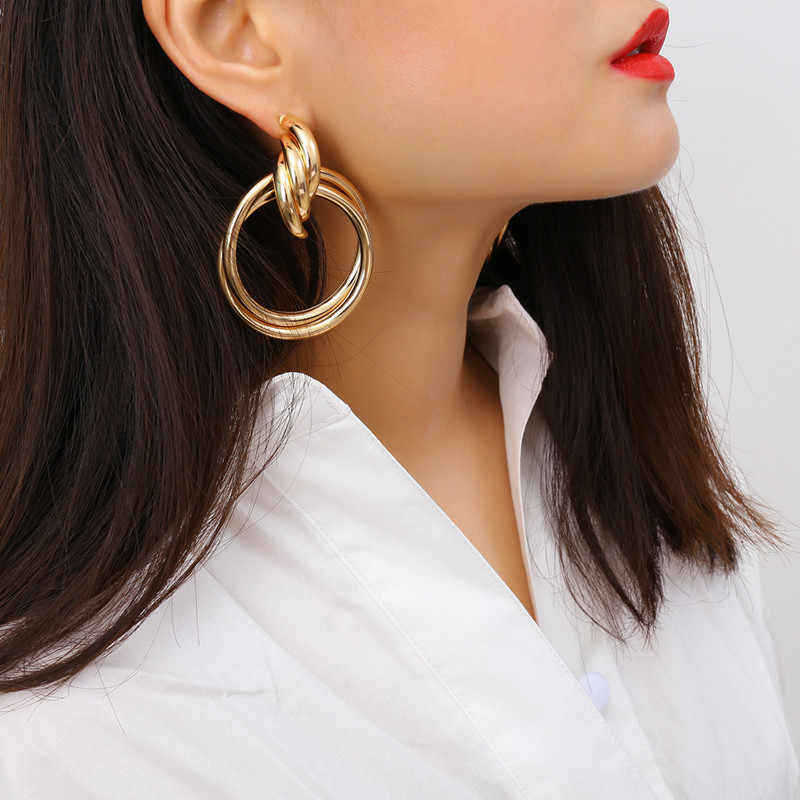 2019 Fashion Punk ZA Gold Big Round Drop Earrings for Women Statement Earrings Jewelry Female Party Daily Life Accessores Bijoux