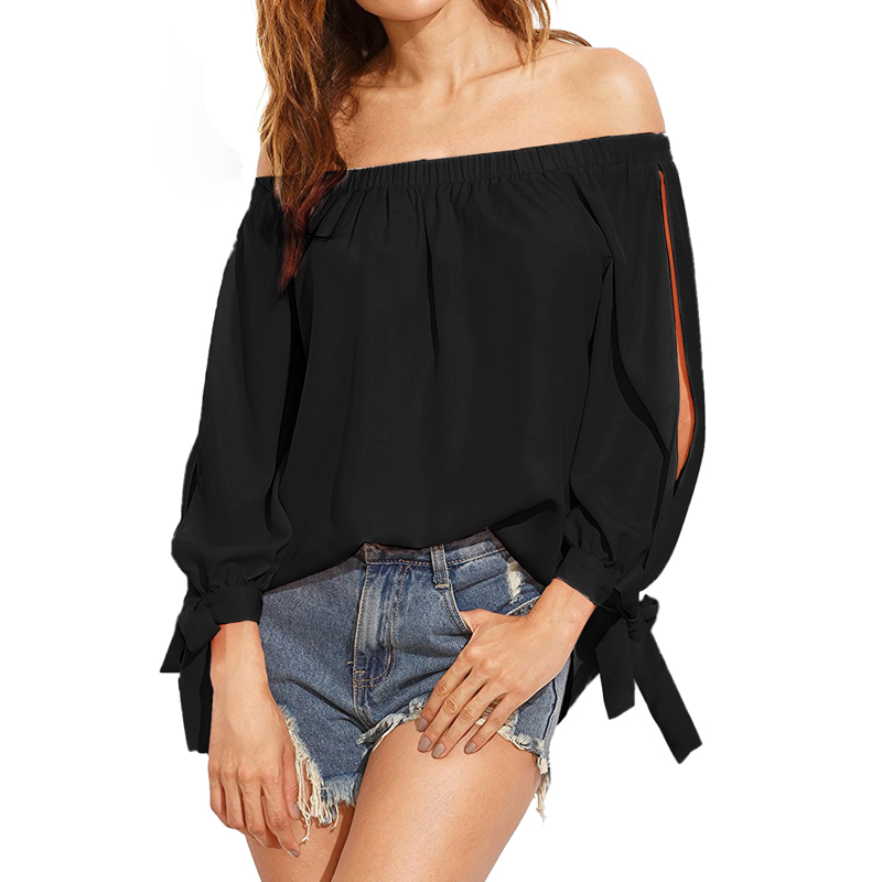 Solid Slash Neck Blouse Shirts Women Casual Loose Off Shoulder Bow-knot Tie Sexy Long Split Slit Sleeve Shirts Blusas Plus Size