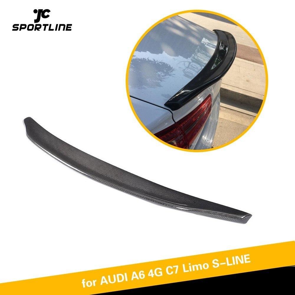 Задний спойлер багажник загрузки крыла губы крышка для Audi A6 A6Q C7 2012 2018 углеродное волокно задний спойлер багажника загрузки крыла губы