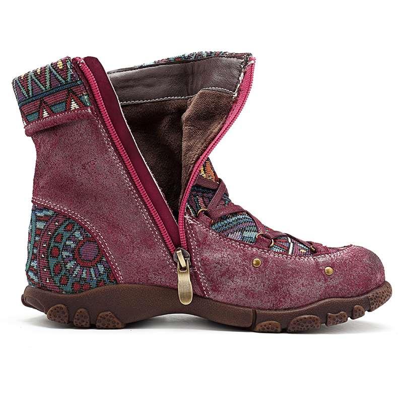 Socofy Bohemian Vintage estilo motocicleta botas mujer primavera otoño Socofy cuero genuino tobillo botas señoras Zapatos mujer Botines-in Botas hasta el tobillo from zapatos    3
