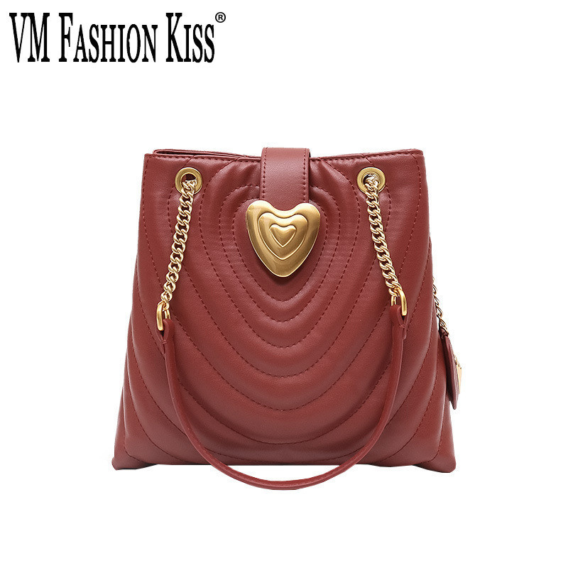 VM FASHION KISS New 2019 Female Bucket Bag Light Luxury Series Genuine Leather Small Bags For Women Shoulder Bag Heart-shapedVM FASHION KISS New 2019 Female Bucket Bag Light Luxury Series Genuine Leather Small Bags For Women Shoulder Bag Heart-shaped