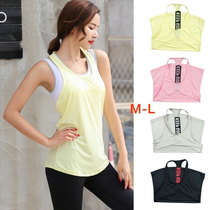 Fashion Women's Professional Elasticity Sports Vest Yoga Running Fitness Loose Quick Drying Breathable Vest With Words On Back
