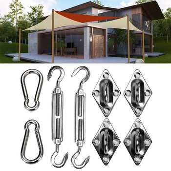 8Pcs/Set Stainless Steel Triangle Tent Sun Shade Sail Fixing Part Home Garden Sun Sail Awning Tent Installation Tool Accessories