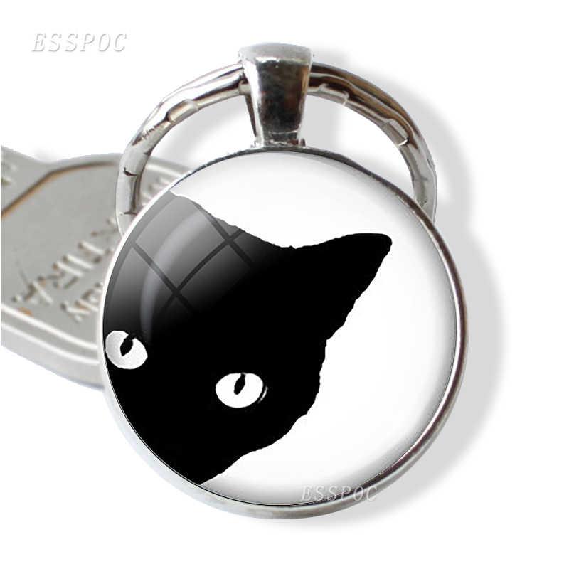 Colgante de gato, Animal, joyería, llavero, cúpula de cristal, cabujón, mascota, gato, dibujos animados mecánicos, accesorios de arte, regalo