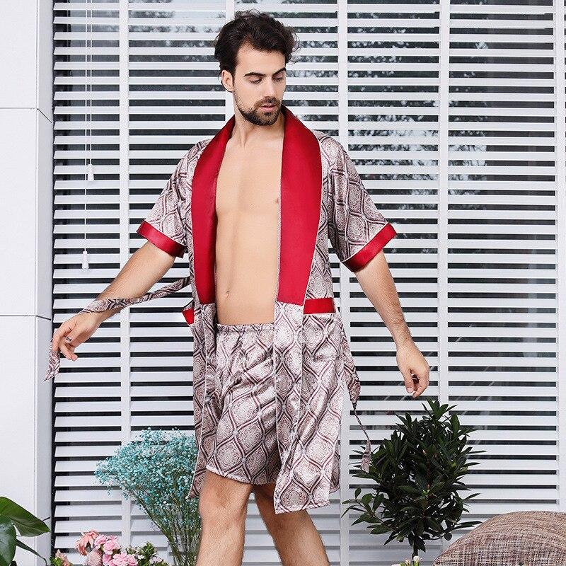 Male Plus Large Size Satin Silk Robe Shorts Two-piece Set Nightclothes Mens Summer Short-Sleeve Printing Silk Pajamas Suit