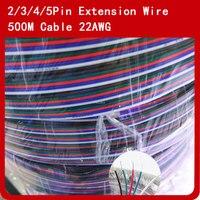 500 м/лот 2Pin 3pin 4pin 5pin Светодиодные ленты провод удлинительного кабеля 22AWG для шнура питания для 3528 5050 RGBWW Светодиодные ленты света
