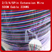 500 м/лот 2Pin 3pin 4pin 5pin Светодиодные ленты провод удлинительного кабеля 22AWG шнура питания для 3528 5050 RGBWW Светодиодные ленты свет