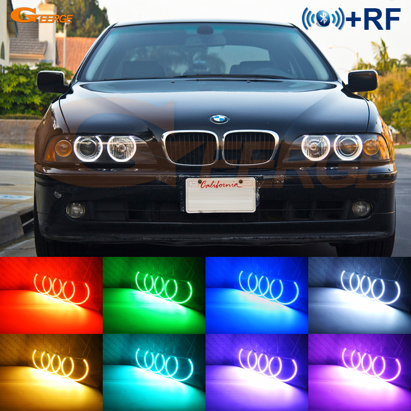Fur BMW E39 540i 530i 528i 525i 523i M5 2000 2003 Post Facelift Scheinwerfer RF Bluetooth Controller Multi Farbe RGB Led Angel Eyes In