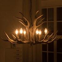 SETTEMBRE Black Antler Chandelier Loft Decor Semiflush Mounted E14 Pendant Dinning Living Room Chandelier Lightings